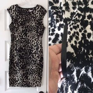 CALVIN KLEIN Leopard Print Dress with Faux Leather